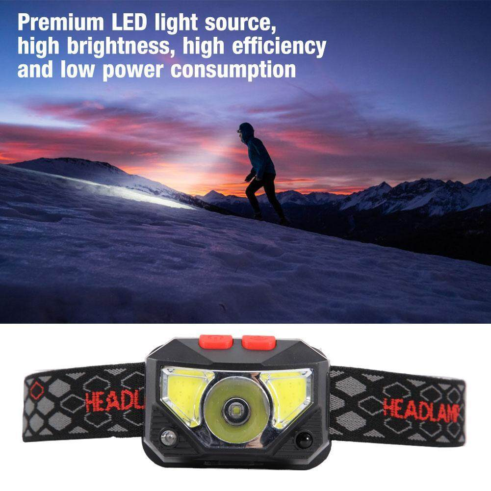USB Charging LED Headlight Head Light Red COB Flashlight for Night Fishing Camping
