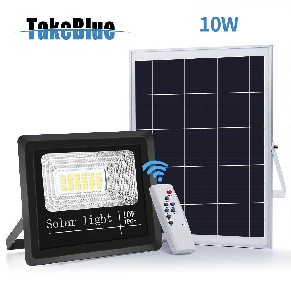TakeBlue Solar Led Flood Light 10W Waterproof  Separable Solar Panel Outdoor Lights With Remote Control For Garden & Street & Indoor