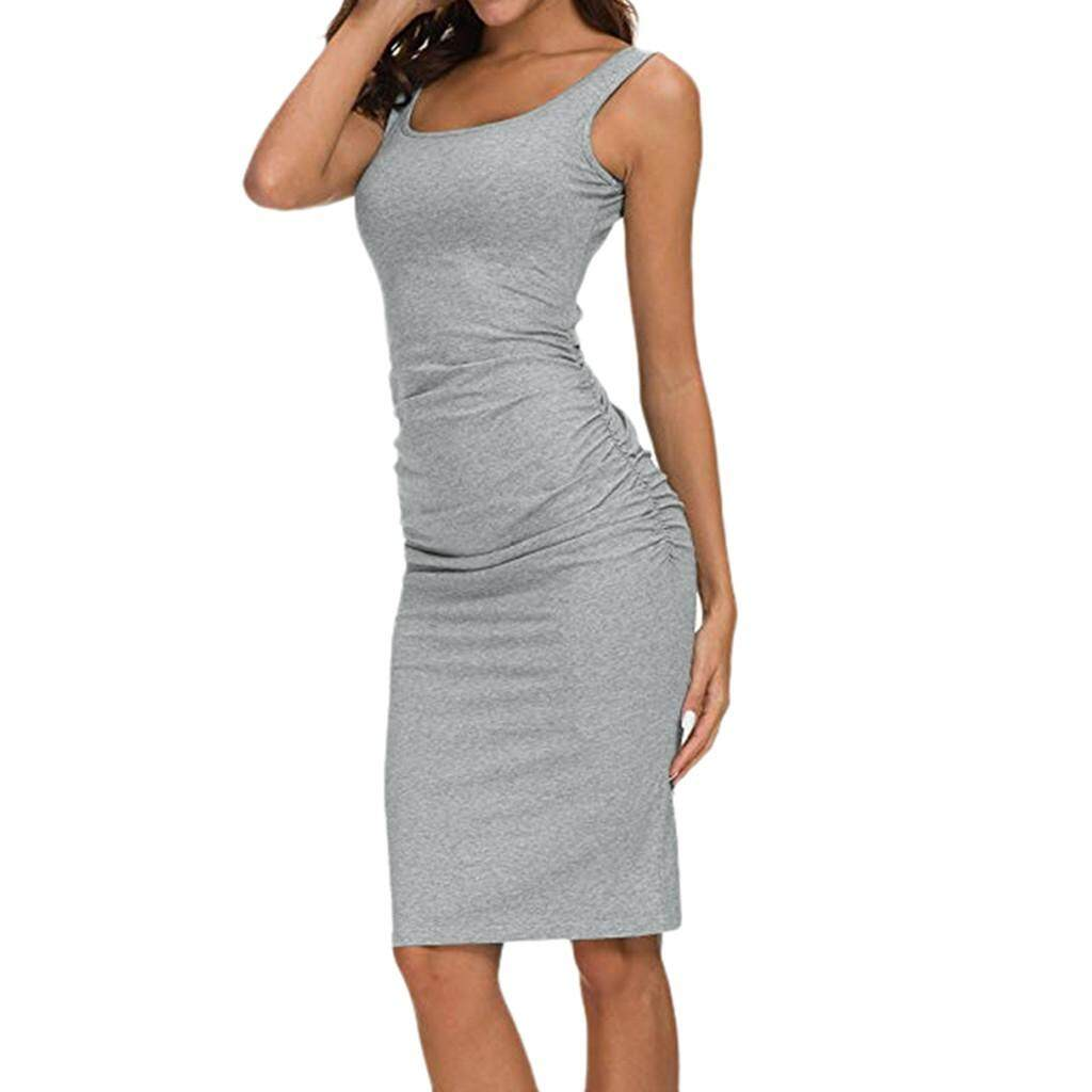 e78129b30f00 Summer Sundress Women's Solid Ruched Draped Casual Bodycon Sleeveless  Sheath O-Neck Dress