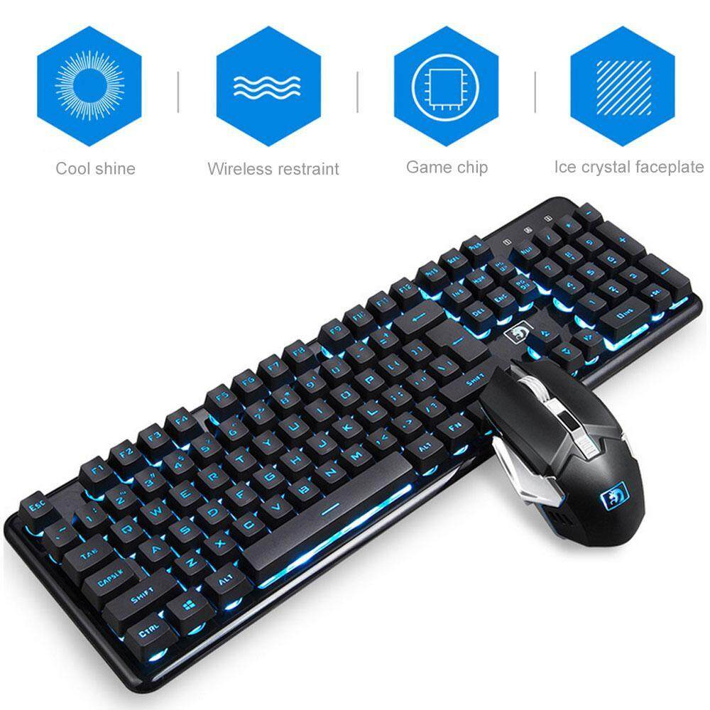8717a1f071f Niceeshop Gaming Keyboard And Mouse Combo, Rechargeable Wireless Keyboard  With Colorful Lights And Mouse With