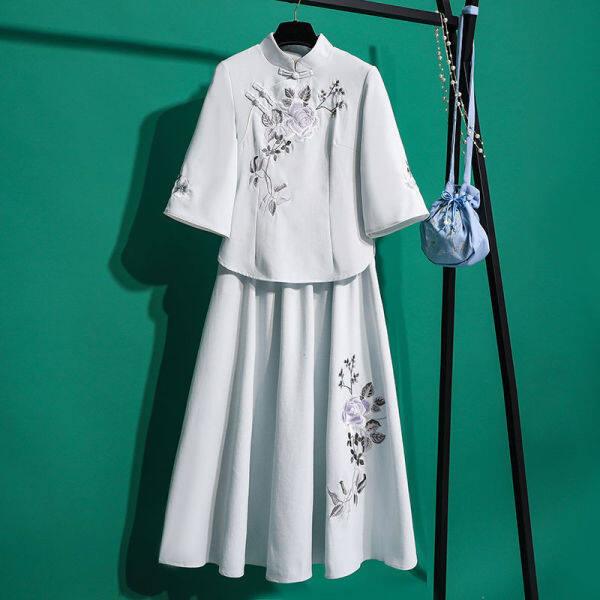 Hai-Mảnh Cộng Hòa Của Trung Quốc Của Phụ Nữ Thêu Phong Cách Trung Quốc Tang Ăn Mặc Váy Sườn Xám Hán Phục Cải Tiến Phụ Nữ