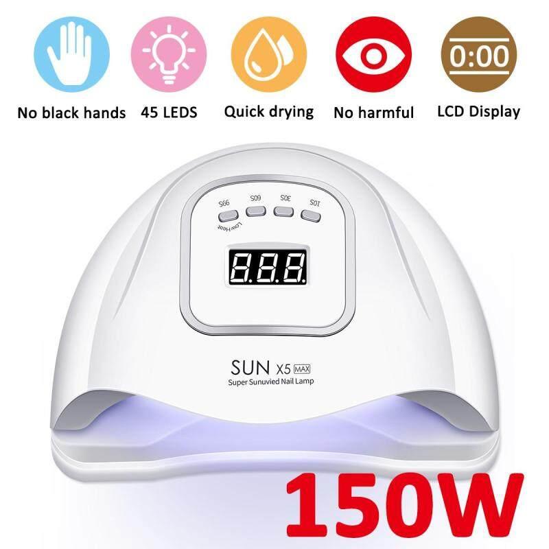 150 W 45 PCS LED Ánh Sáng UV Đèn Máy Sấy Móng Tay cho Gel Ba Lan với Cảm Biến Tự Động/4 Thời Gian MÀN HÌNH LCD màn hình Chuyên Dụng Cụ Làm Móng máy sấy tóc