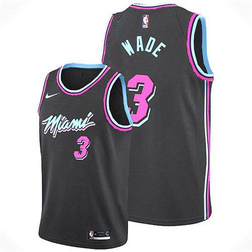 5f7a79cd977 Nike Official MEN Miami Heat Dwyane Wade  3 Nike Black 2018 19 Swingman  Basketball