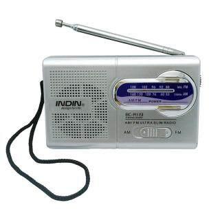 BC-R119 INDIN Bộ Thu Radio Mini Băng Tần Kép AM FM Máy Nghe Nhạc Cầm Tay Tích Hợp Loa Với Giắc Cắm Tai Nghe 3.5MM Tiêu Chuẩn Màu Bạc Xám thumbnail