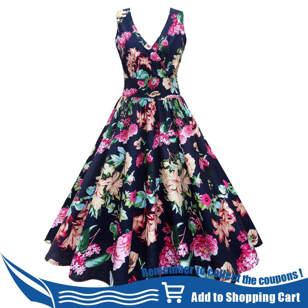 130915e13e64 Women Plus Size Floral Print Vintage Gown Sleeveless Party Prom Swing Dress