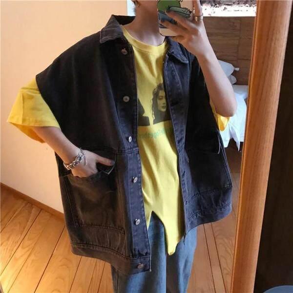 Áo Khoác Denim Phiên Bản Hàn Quốc 2020 Áo Khoác Denim Có Nắp Áo Vest Denim Áo Khoác Jean Hip Hop Cho Nam Áo Khoác Denim Không Tay