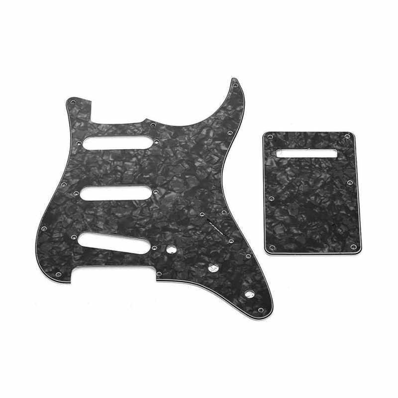SSS Electric G3 Ply SSS Electric Guitar Pickguard Set with Back Plate Screws Pick Guard for American ST Style Guitars Black Pearl (Black) Malaysia