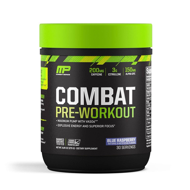 5d5652c9 MusclePharm Combat Pre-Workout, Blue Raspberry (30 Servings / 273 g)