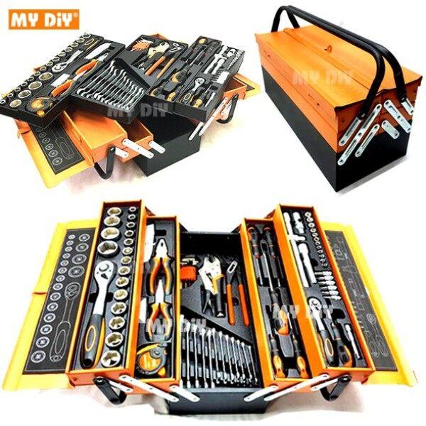 MYDIYHOMEDEPOT - 85pcs tools set Cantilever Metal Tool Box Set 5 Tier 85pcs Socket Set 1-4- - 1-2- Spanner Tool Set