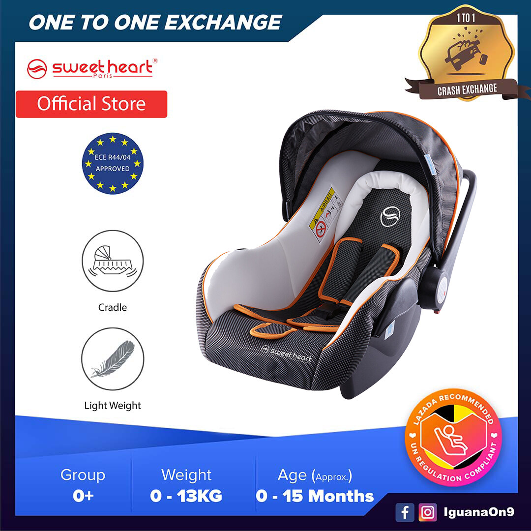 Sweet Heart Paris CS375 Group 0+ Baby Car Seat Assurance Infant Toddler Baby Carrier Baby Car Seat Carrier with Rocker Cradle Function Adjustable Canopy JPJ Approved MIROS and ECE R44/04 Certified (4 Colours Available))