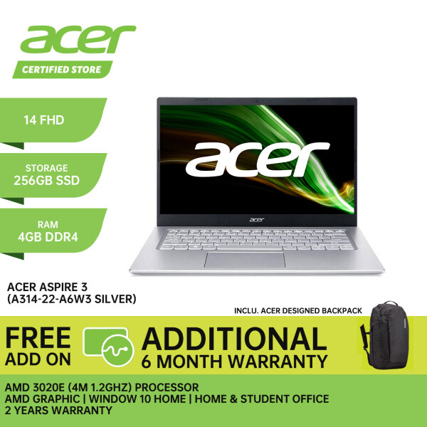 ACER ASPIRE 3 A314-22-A6W3 LAPTOP PURE SILVER 14 FHD / AMD 3020E / 4GB / 256GB SSD / AMD / 2 YEARS WARRANTY + Free Additional 6 Month Warranty Malaysia