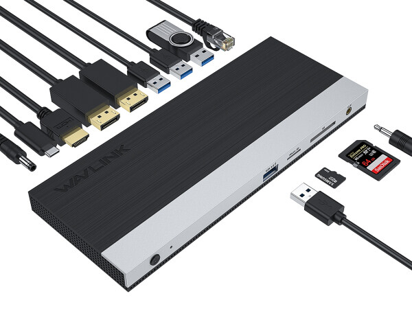 Wavlink USB C Triple Docking Station, 13 in 1 Multiport Laptop Docking Station, Compatible with MacBook Pro& Windows USB C Gen 2 Systems(2xDP & HDMI, 4X USB 3.0 Ports,SD TF Card Reader,Gigabit Ethernet Port, Audio) Plug and Play
