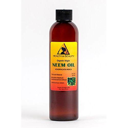 H&B Oils Center Co. Neem Oil Organic Unrefined Concentrate by H&B OILS CENTER Virgin Raw Cold Pressed Premium Quality Natural Pure 8 oz