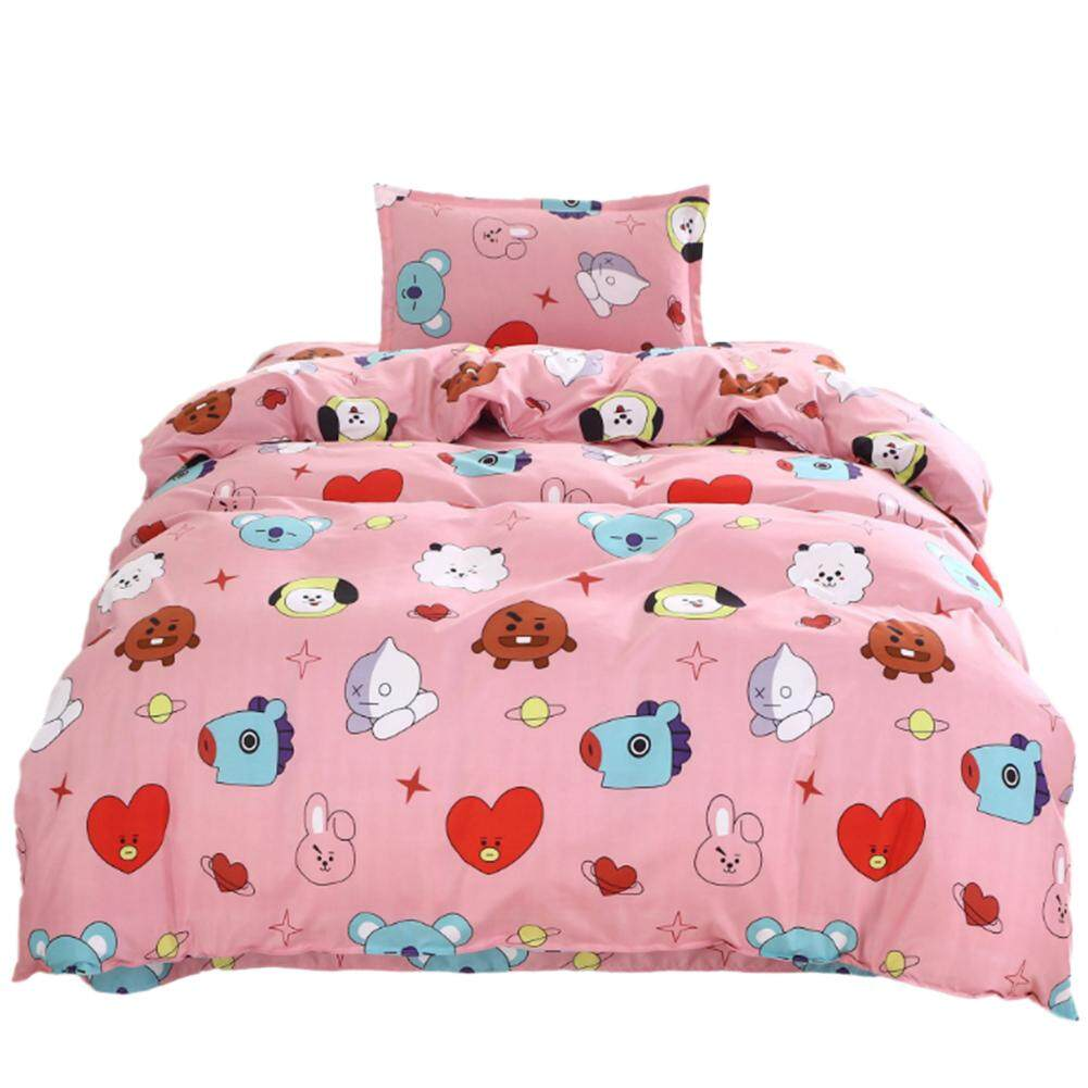 For BTS Surrounding Bulletproof Youth Group Three - Piece Bed Linen Quilt Cover Cotton Bedding Cute Korean Style Environmental Printing