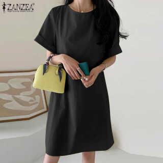 [Miễn Phí Vận Chuyển] ZANZEA Đầm Mini Cotton Trơn Tay Lỡ Mùa Hè Phong Cách Hàn Quốc Cho Nữ ĐầM Xòe Thường Ngày thumbnail