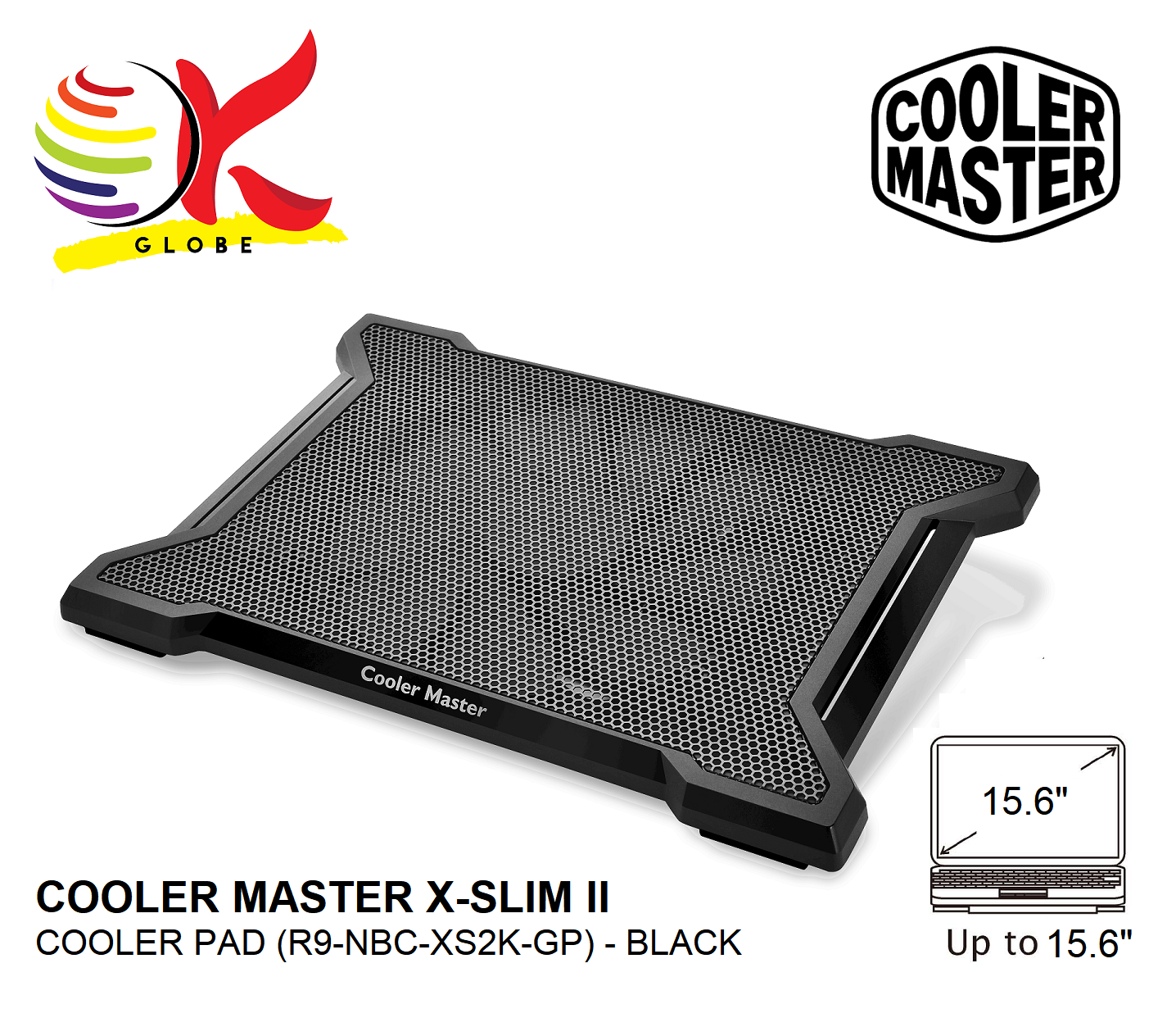 COOLER MASTER NOTEPAL X-SLIM II COOLER PAD WITH 20MM SILENT FANS AND SUPPORT UP TO 15.6  LAPTOP (R9-NBC-XS2K-GP) - BLACK Malaysia