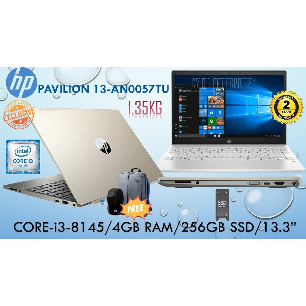 HP PAVILION 13 AN0057TU CORE-i3-8145U/256GB NVMe SSD/4GB DDR4 RAM/13.3/WIN10 **FREE HP BACKPACK + WIRELESS MOUSE** Malaysia