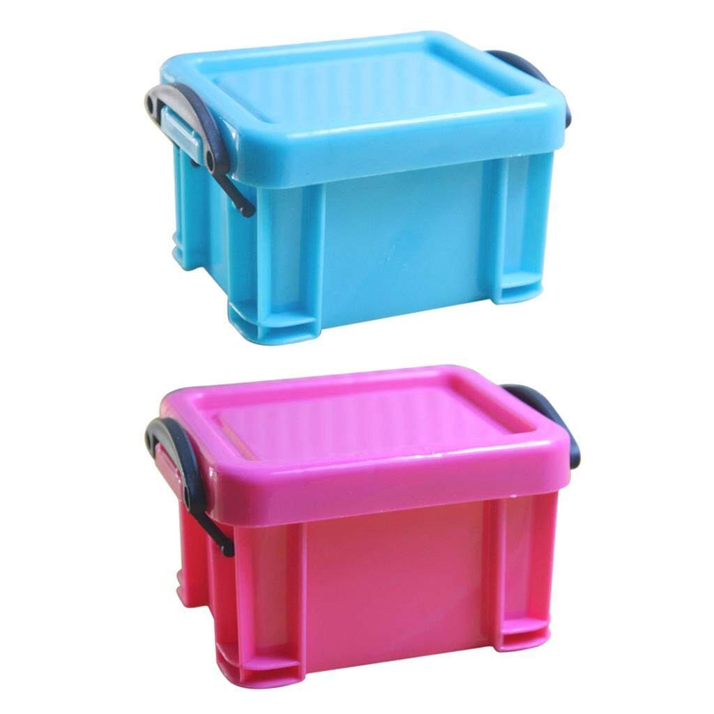 Fityle 2Pcs Small Things Anti-lost Accessories Finishing Case Mini Lock Storage Box