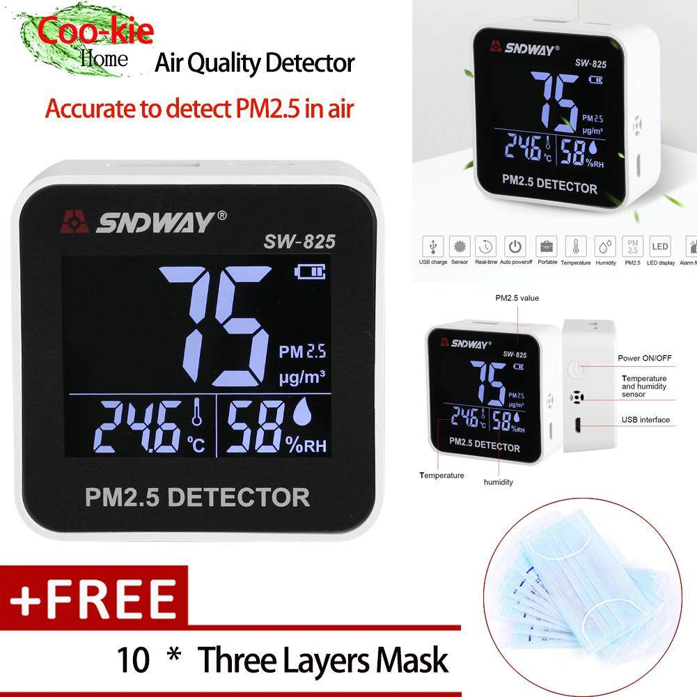 【Free gift】SNDWAY Digital LED Air Quality Monitor PM2.5 Detector Temperature Humidity Meter