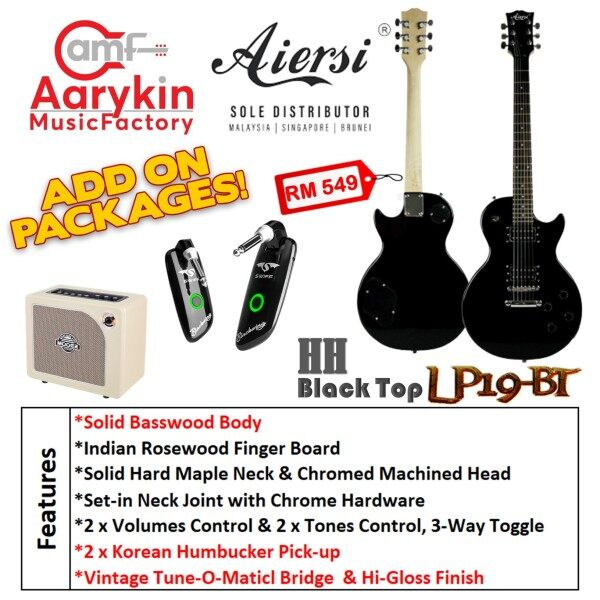 [Guitar] Electric Guitar Les Paul Body LP-19 (Black Top) Aiersi Malaysia