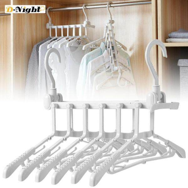 D-Night Folding Clothes Hanger 360 Rotating Space Saving Stretchable Organizer Rack for Travel Home