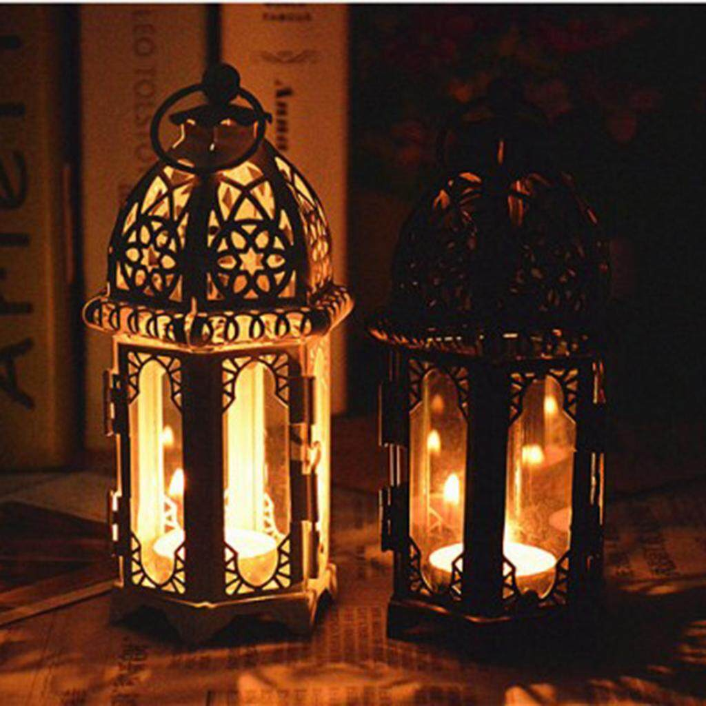 Perfk 2pcs Clear Glass Moroccan Style Candle Lantern Tealight Candle Holder Candlestick for Wedding Party Decor