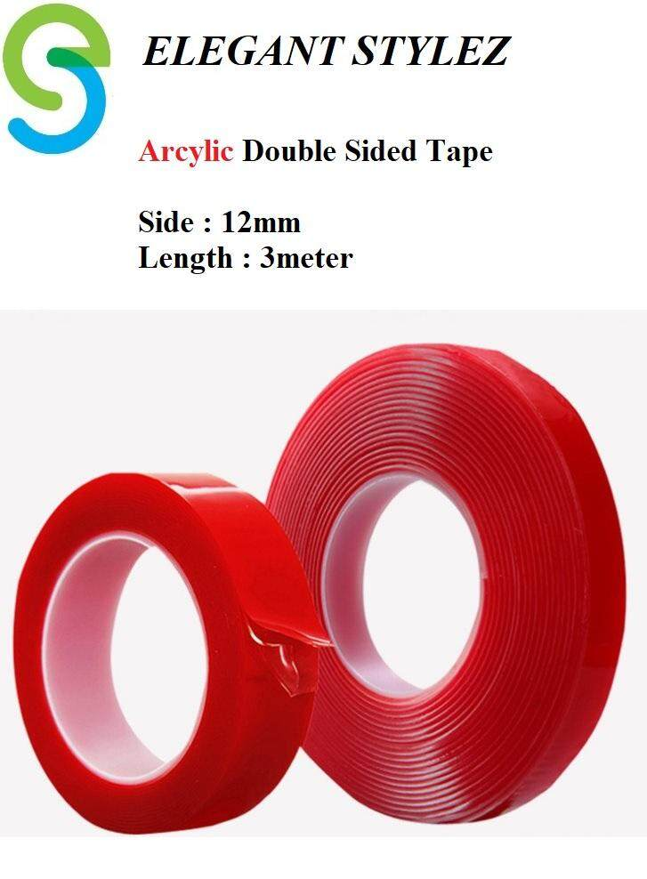 Elegant Stylez Arcylic Double Sided Tape Waterproof Double Sided Adhesive Tape 12mm x 3meter