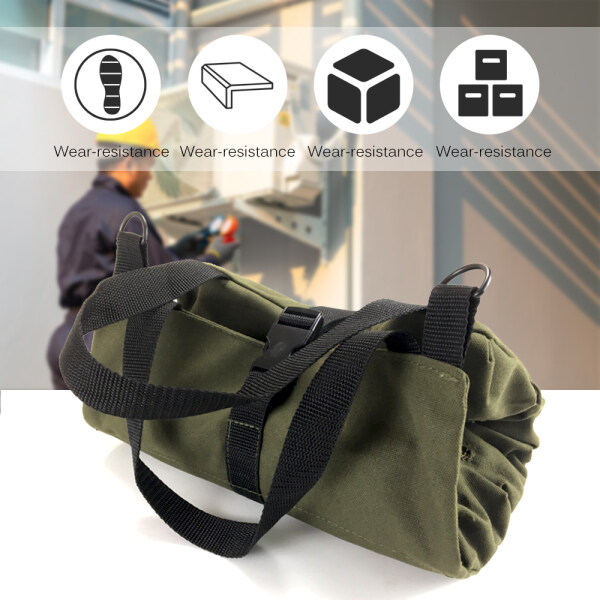 KKmoon Tool Roll Up Bag Zippered Bag 5 Pockets Canvas Tool Organizer Portable Tool Roll-up Pouch Tool Bag Workbag Zipper Utility Tote