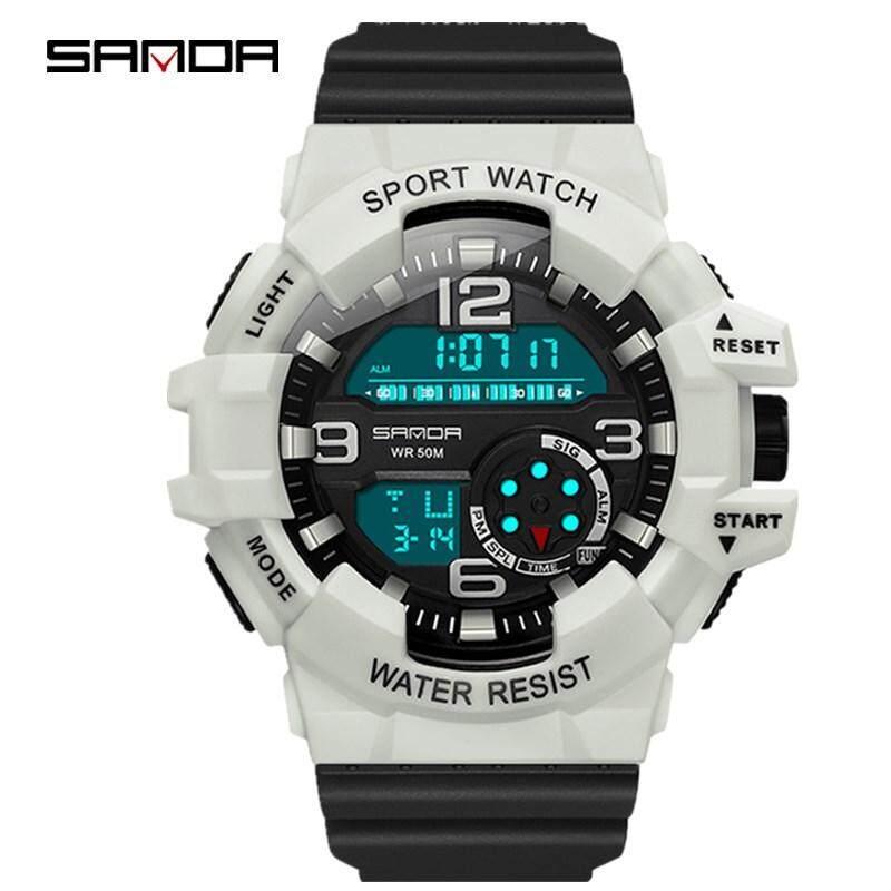SANDA Mens Watch Mens Brand Military Sports Watch LED Digital Waterproof Quartz Watch Mens Watch, Fashion Trend Mens Watch, Business Casual Mens Watch, Multi-Function Watch Malaysia