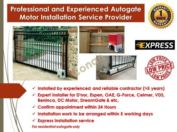 Autogate Motor Installation Service Provider (Professional and Experienced) - Standard Auto Gate Installation for 1 Autogate Motor System