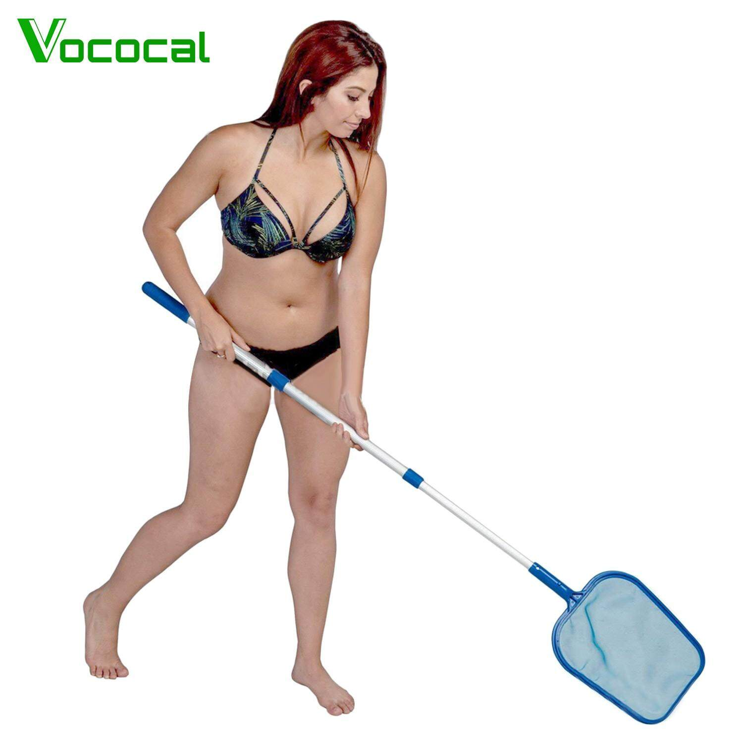 【In stock】Vococal Pool Leaves Skimmer Mesh Net with Adjustable Aluminum Telescopic Pole for Swimming Pool Maintenance Cleaner Supplies