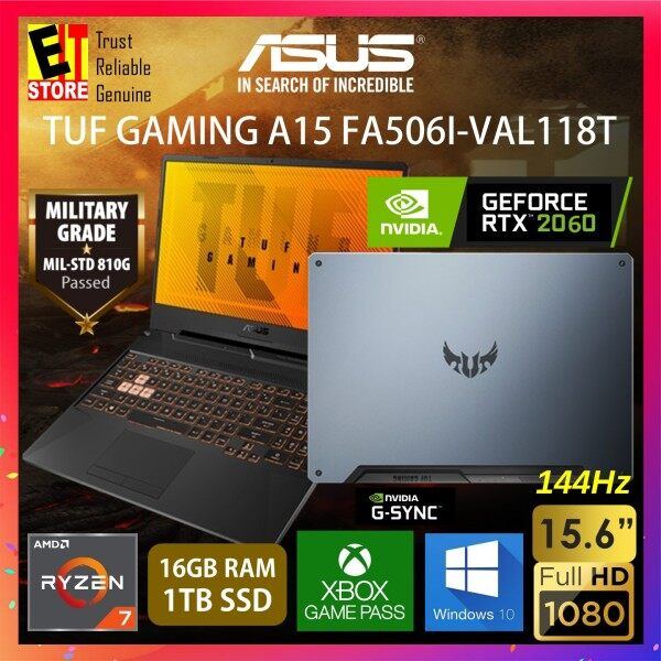 ASUS TUF GAMING A15 FA506I-VAL118T GAMING LAPTOP (RYZEN R7-4800H/16GB/1TB SSD/15.6 FHD 144HZ/6G RTX 2060/W10/2YRS) + BAG Malaysia