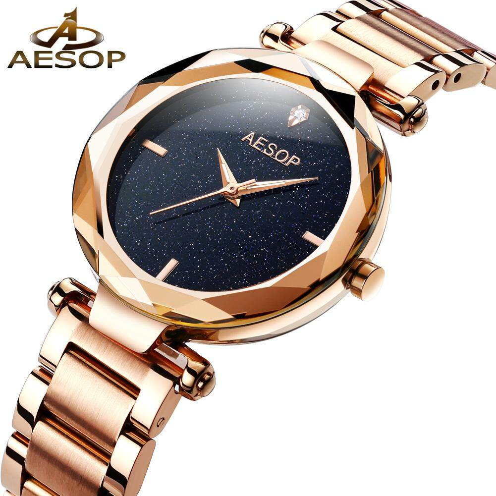 d766bf9af630 AESOP Fashion Women Watches 2018 Best Sell Star Sky Dial Clock Luxury Rose  Gold Women s Bracelet