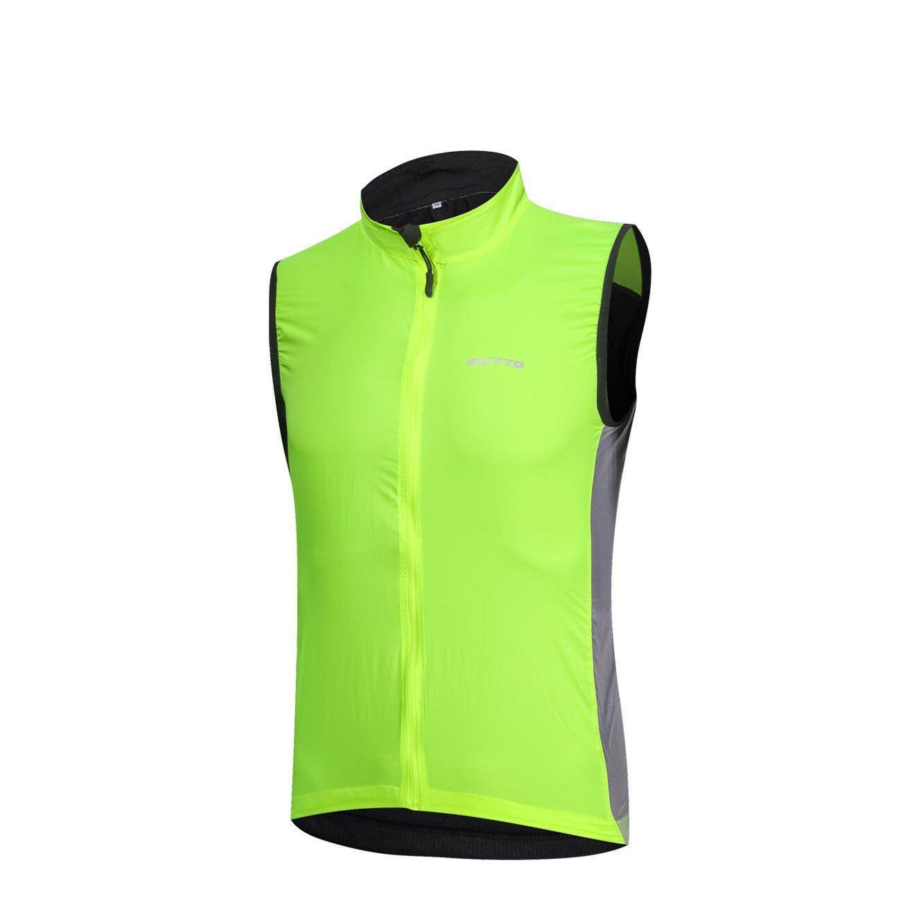 Mens Fluorescent Green Riding Outdoor Windproof Breathable Rain Night Vision Reflective Sleeveless Vest By Wellsunny.