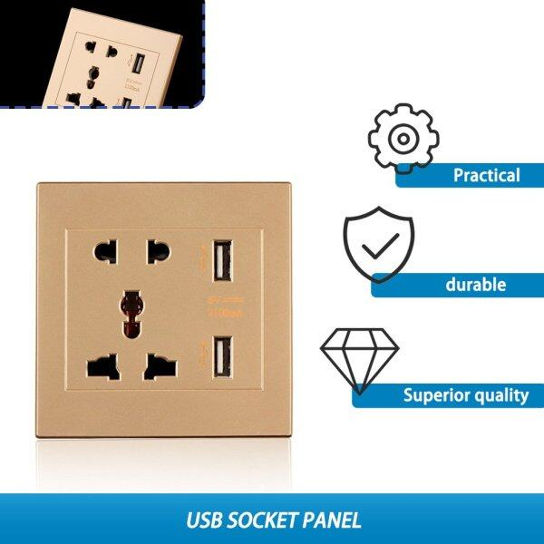 PSoft Dual USB Port Electric Wall Charger Dock Socket Power Outlet Panel Plate