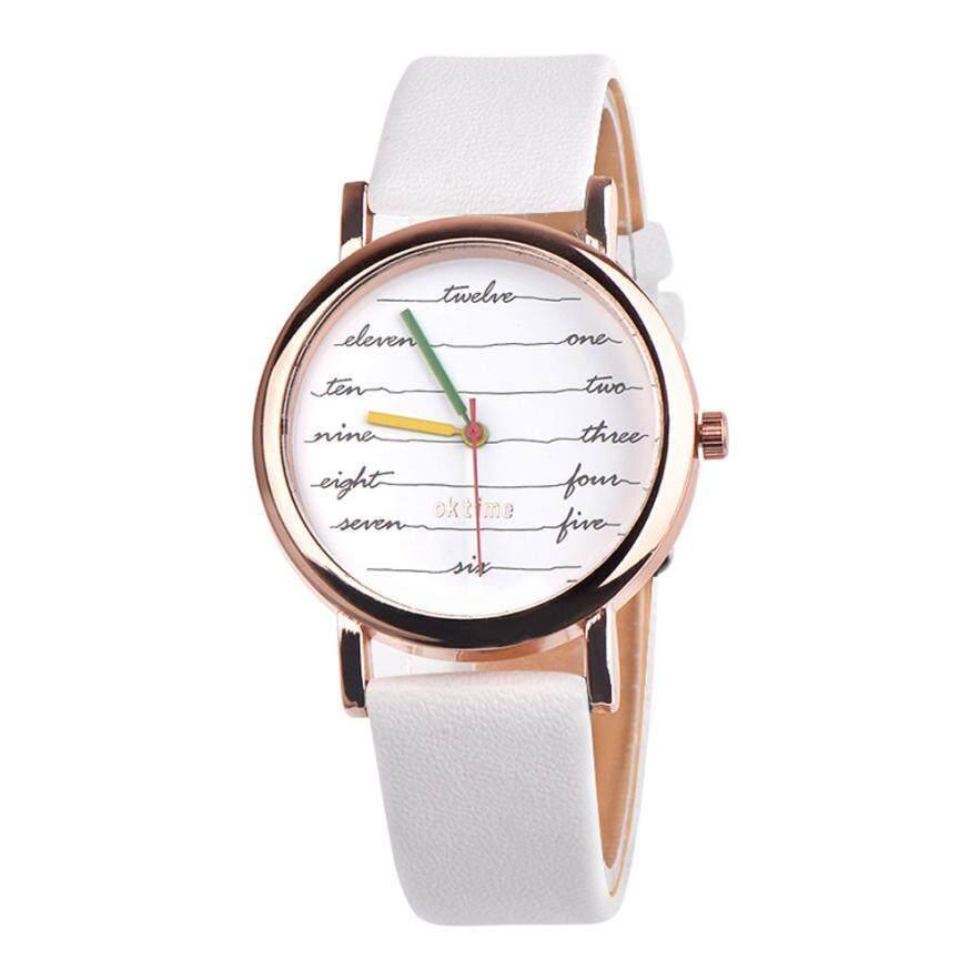 Mode Terkini Jam Tangan Bermerek Wanita Jam Tangan QUARTZ Sederhana Jam Putih Gesper Tali Kulit Watch Women Hadiah Ulang Tahun untuk Pecinta # D [Promosi Besar]