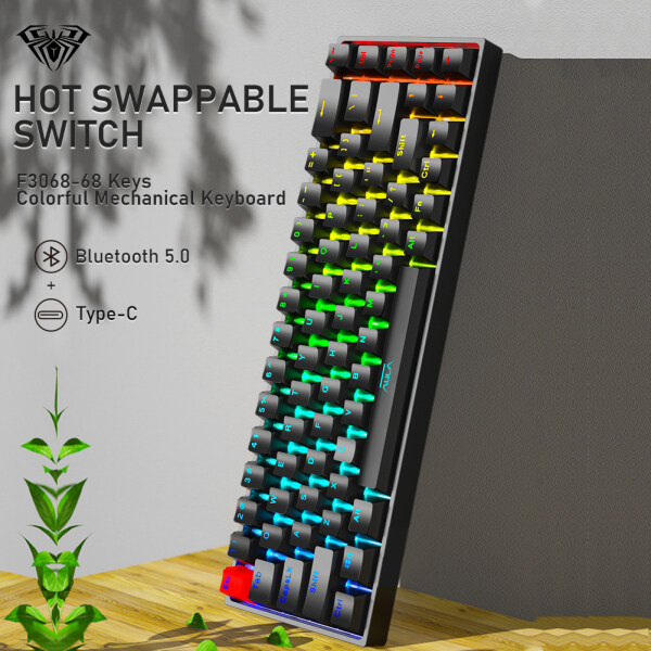 Aula F3068 68 Keys Bluetooth+Wired Dual Mode RGB Mechanical Keyboard Hot Swappable Switch Full keys Anti-ghosting Cool Backlight Effect for Pc Laptop Offical Computer Singapore