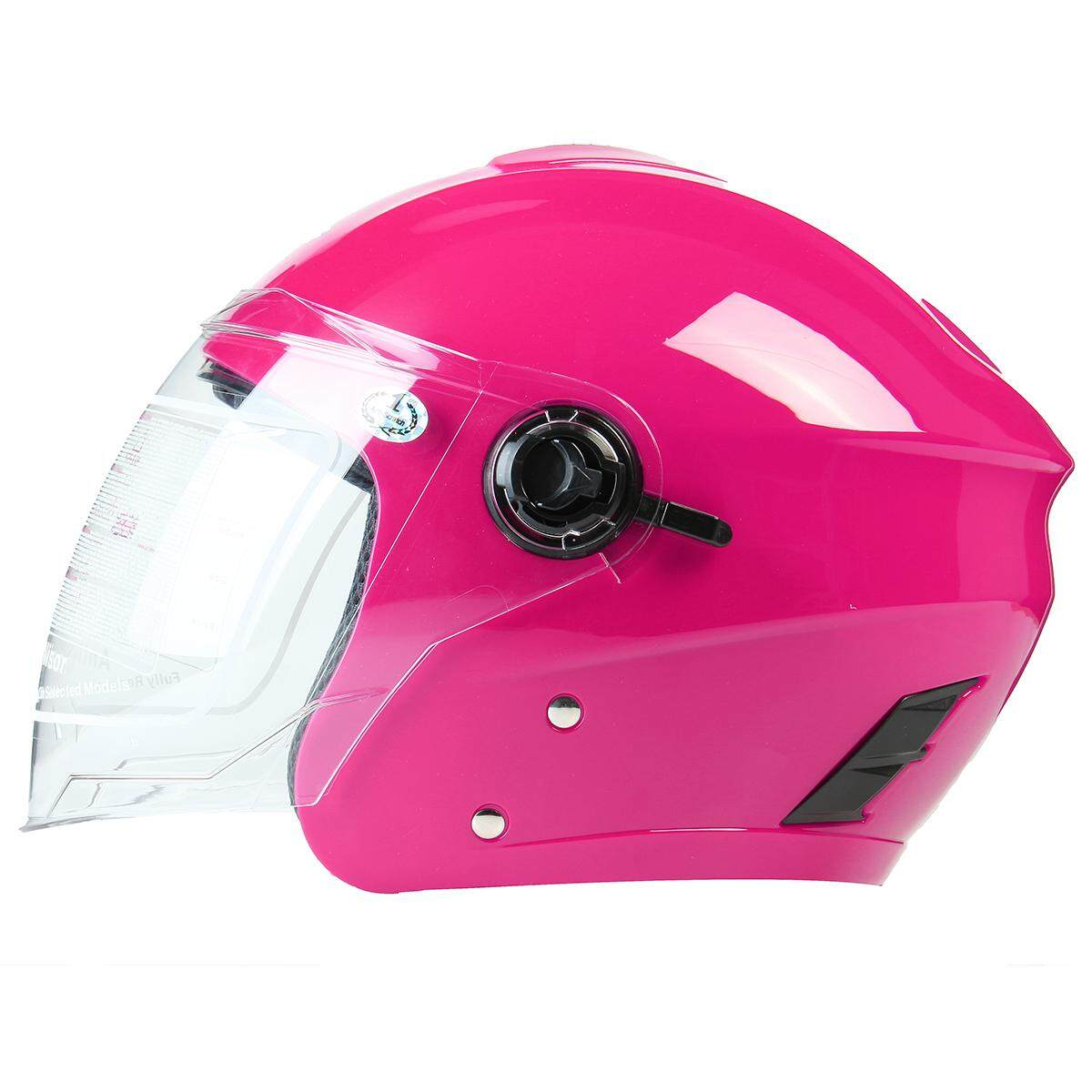 【11.11】 (Rose-Universal w/ double visor) Unisex Anti-UV Half Shell Open Face Security Motor Helmet For Harley Motorcycle Motorcross Electrombile Chopper Cruiser Cycling Scooter