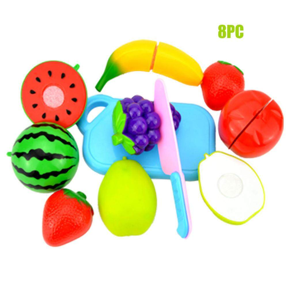 Kids Toy Gift Pretend Role Play Kitchen Fruit Vegetable Food Toy Cutting Set W