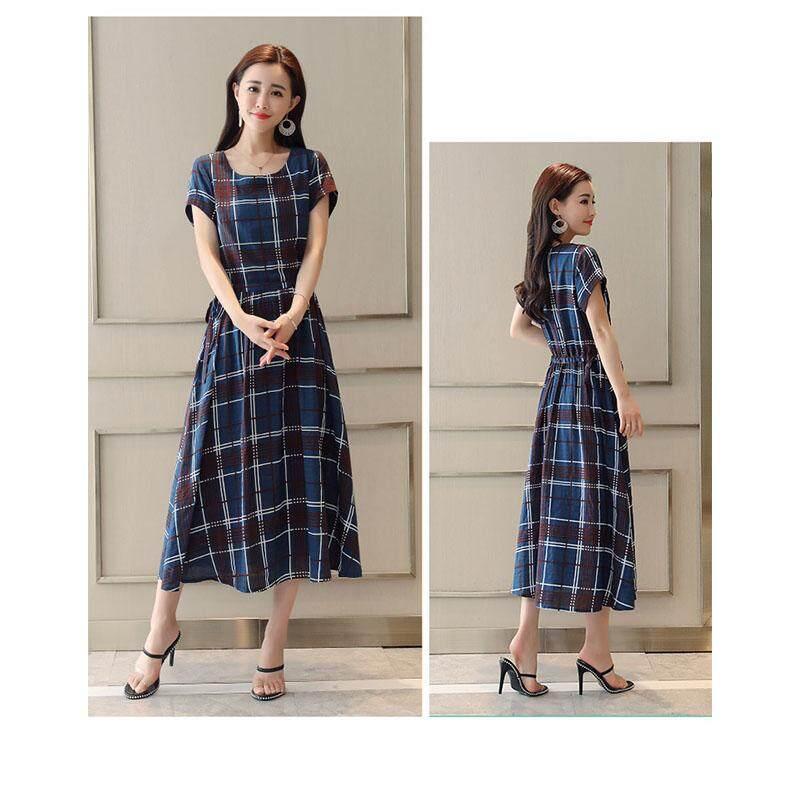20dfd76d7e3 SZWL Summer Dress Women Large Hem Plaid Pattern Round-neck Dress