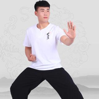 Quần Áo Tai Chi Ngắn Tay Mùa Hè, Đồng Phục Võ Thuật Nút Nam Áo Thun Cotton Áo Phông Quần Áo Biểu Diễn Thái Cực Chi Trung Quốc thumbnail