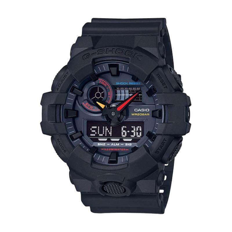 [100% Original G SHOCK]Casio G-Shock GA-700 Lineup Special Color Model Jet Black Resin Band Watch GA700BMC-1A GA-700BMC-1A (watch for man / jam tangan lelaki / casio watch for men / casio watch / men watch / watch for men) Malaysia