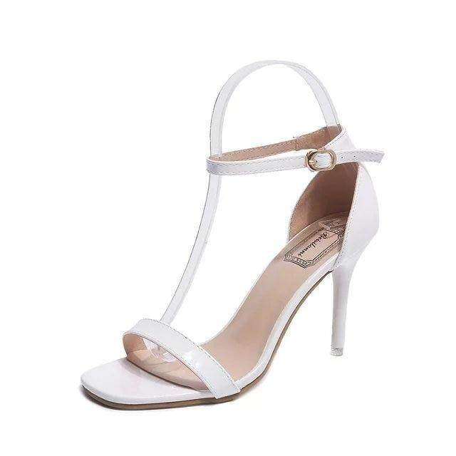 fa4a41116150 Women Sandals 2019 Summer High Heels Sandal Nude Heels Sandals Women  Concise Patent Leather Party Dress