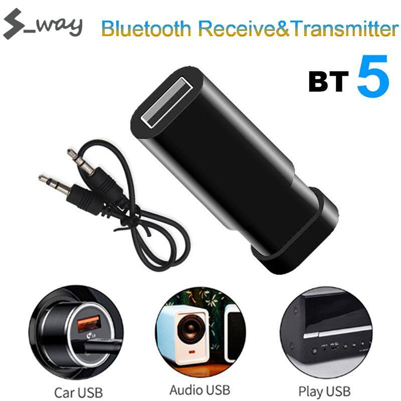 S_way Wireless Bluetooth V5.0 + EDR Transmitter Receiver Adapter Single Audio Music Adapter With USB Charging Cable 3.5mm Audio Cable