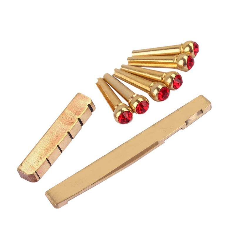 Baoblade Acoustic Guitar Replacement Slotted Saddle Nut with Red Opal Bridge Pins Malaysia