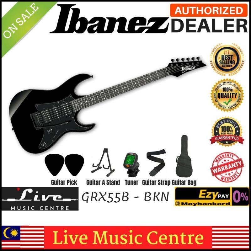 Ibanez Gio GRX55B Black Night Solid Body Electric Guitar With Bag, Tuner, A stand, Strap and 2pick (GRX55B-BKN) Malaysia
