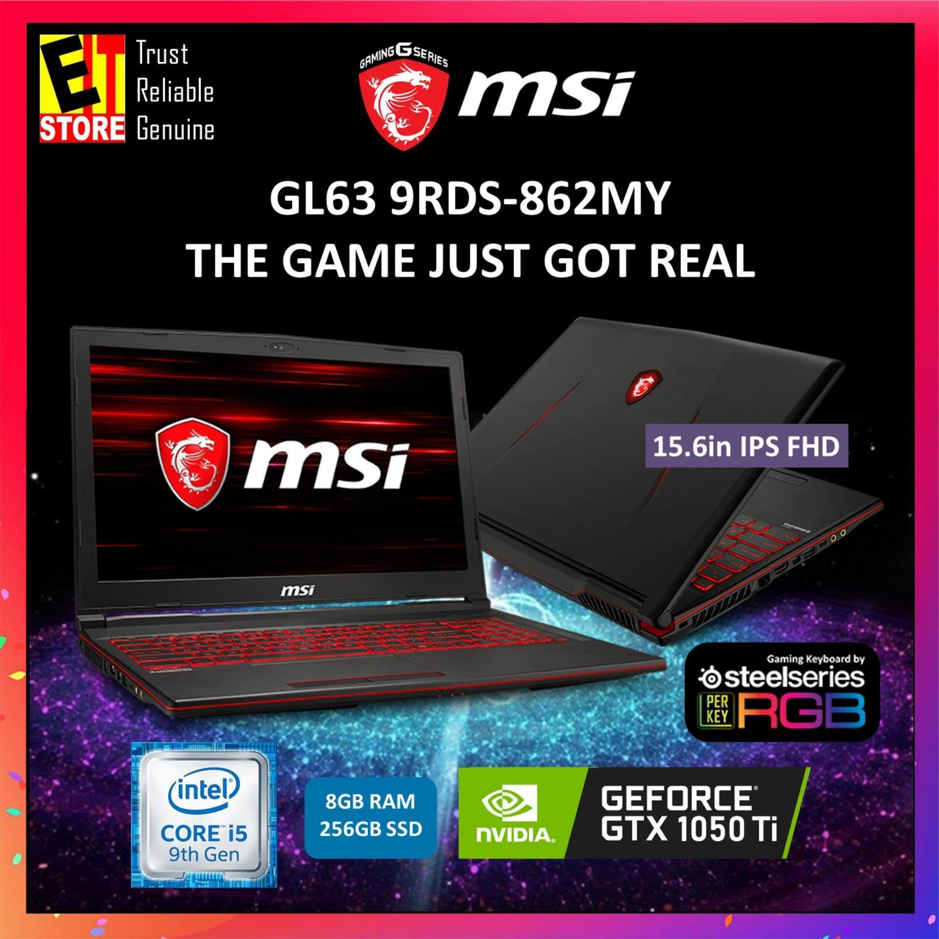 MSI GL63 9RDS-862MY BLACK (I5-9300H+HM370/8G/256G SSD/GTX 1050 Ti 4G/15.6/W10/2YRS) + BACKPACK Malaysia