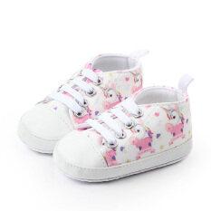 Giày thể thao in hình kỳ lân làm bằng vải bông mềm dành cho bé gái sơ sinh mới tập đi – INTL