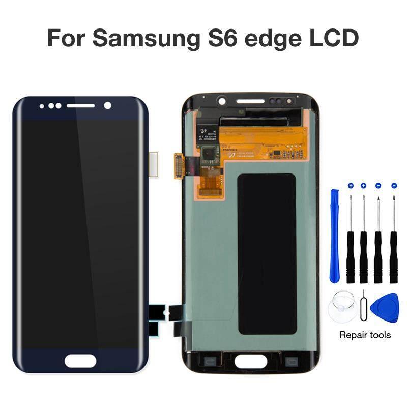 5.1 ''Asli Super AMOLED LCD untuk Samsung Galaxy S6 Edge G925 SM-G925F G925F Sentuh Layar Digitalisasi Perakitan Penggantian Suku Cadang