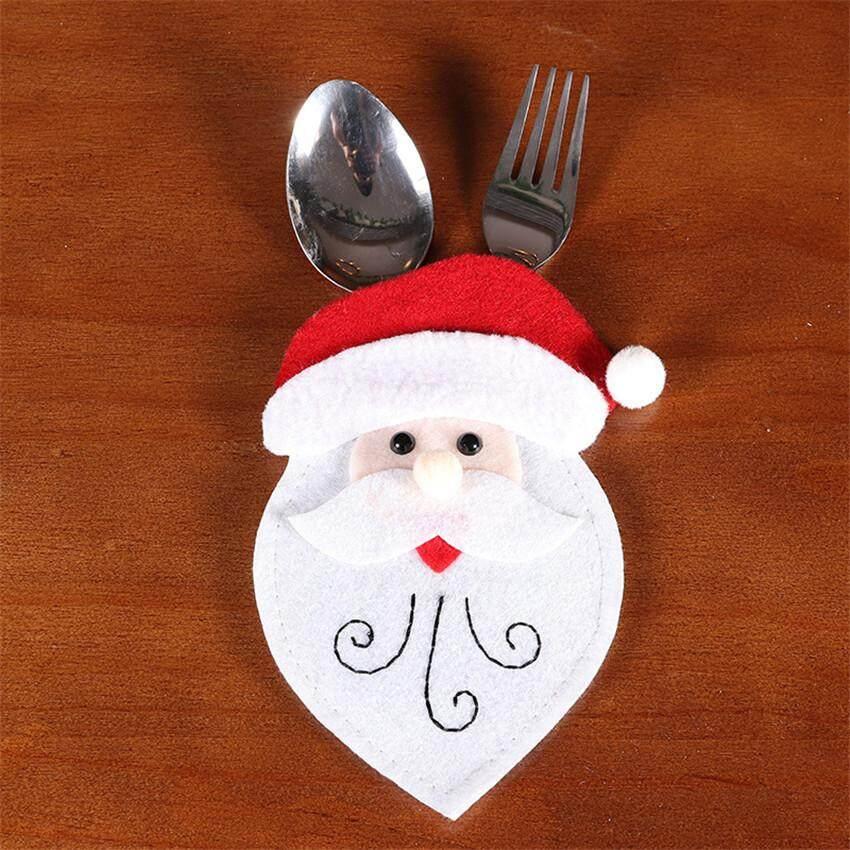 Siêu Giảm Giá Khi Mua Santa Hat Reindeer Christmas New Year Pocket Cutlery Holder Bag Home Party Table Dinner Decoration Tableware